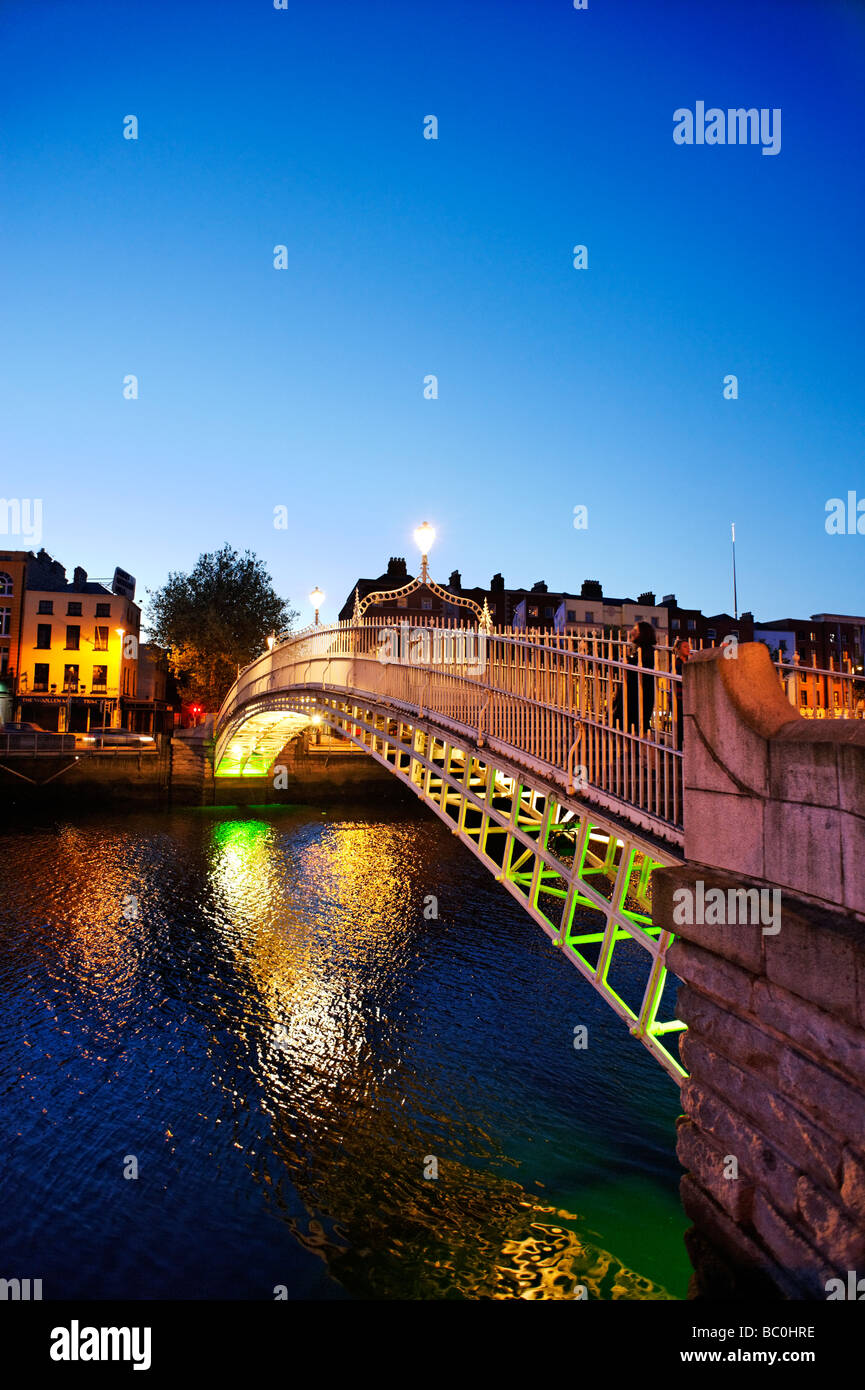 Ha Penny bridge looking towards Lower Ormond Quay Central Dublin Republic of Ireland - Stock Image