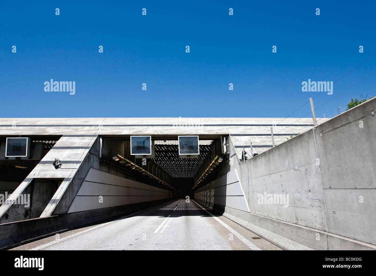 entrance to the tunnel at the oresund bridge between denmark and stock photo 24601516 alamy. Black Bedroom Furniture Sets. Home Design Ideas