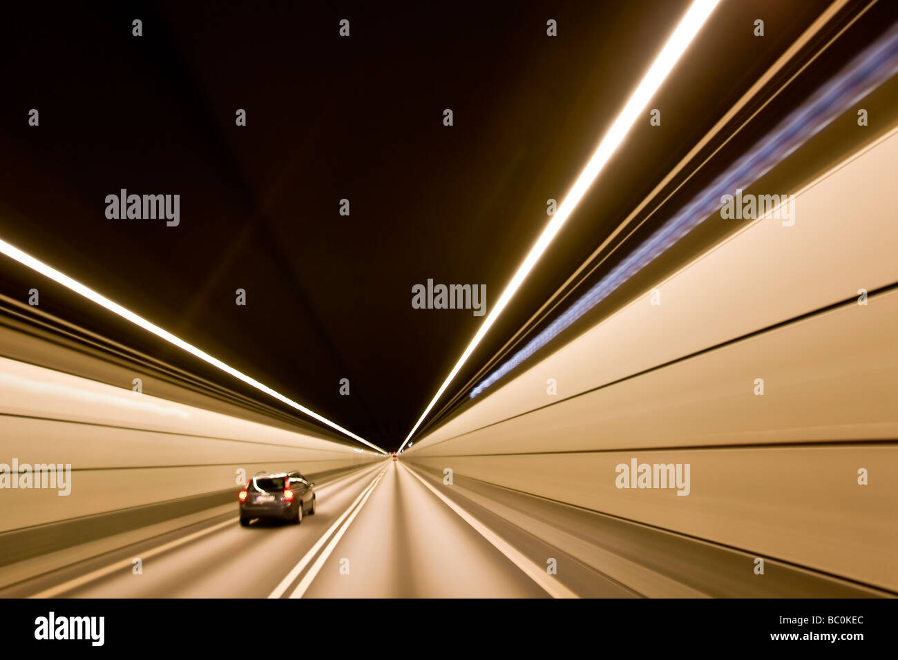 Inside the tunnel at the Oresund Bridge between Denmark and Sweden - Stock Image