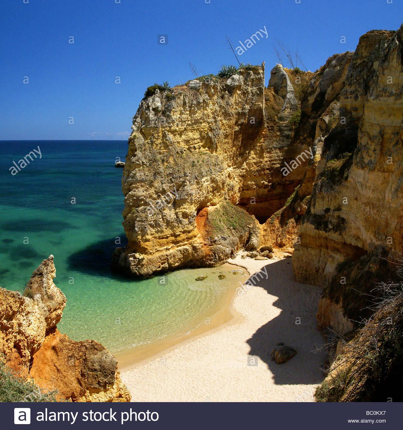 Algarve - Portugal - Coast of Lagos at Praia da Dona Ana - Stock Image