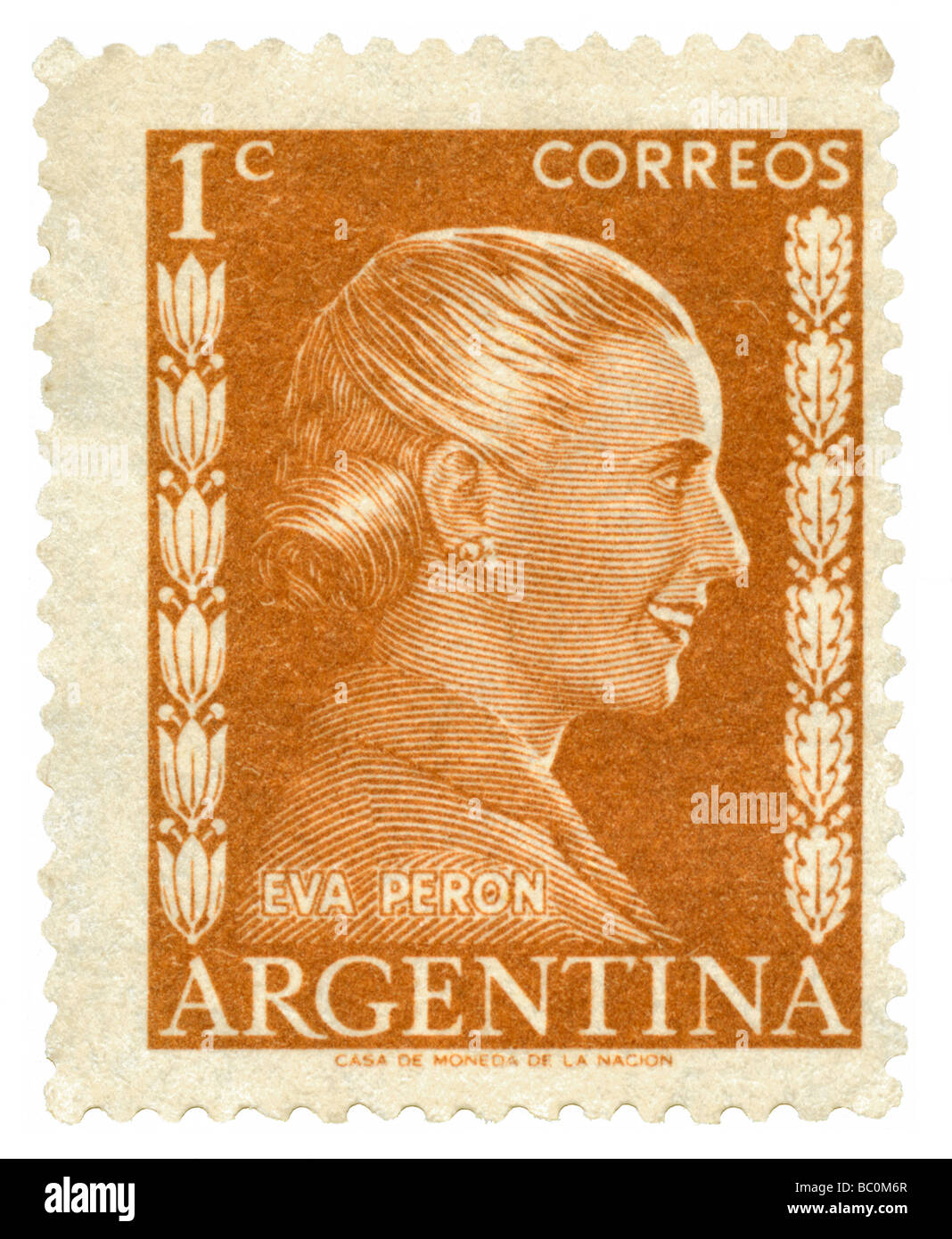 Old Argentina postage stamp with portrait of Eva Peron - Stock Image
