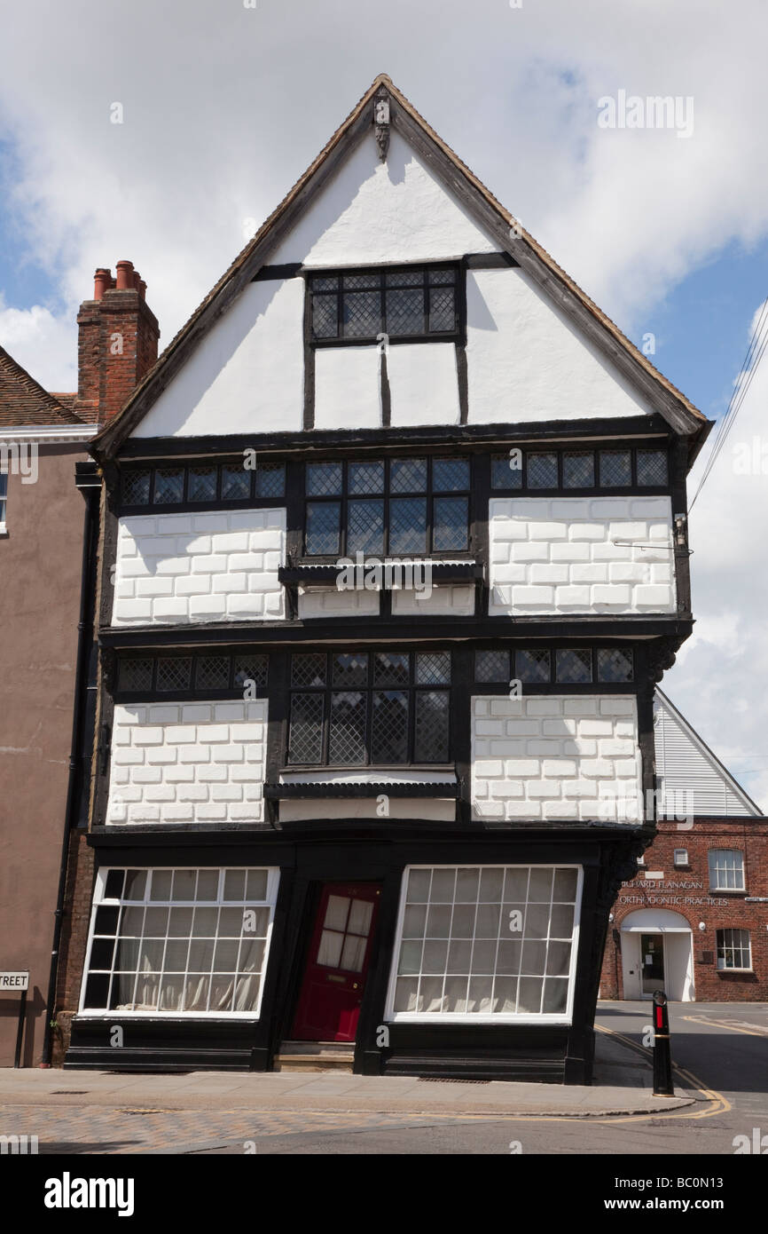 Crooked wonky house in quaint historic medieval timber framed building. Canterbury Kent England UK Britain - Stock Image