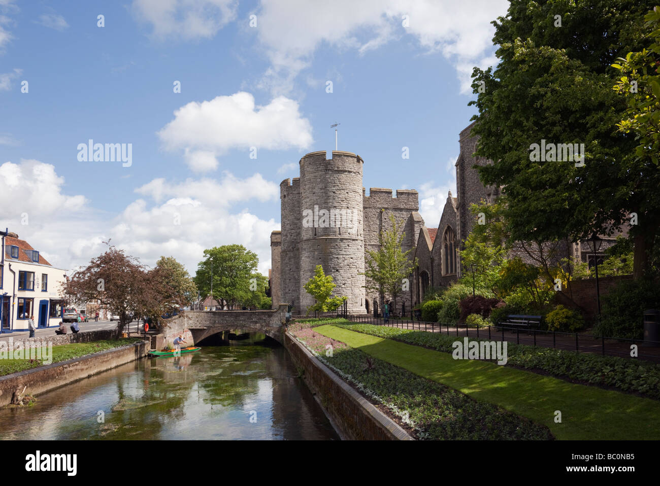 View along the River Stour to Westgate towers from West Gate gardens in Canterbury Kent England UK Great Britain - Stock Image