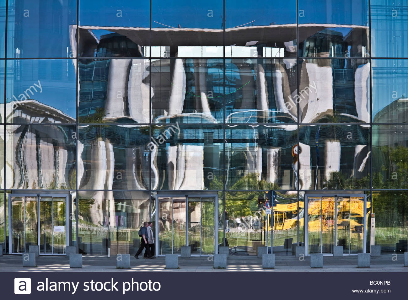 the german federal chancellery building reflected in glass window front - Stock Image