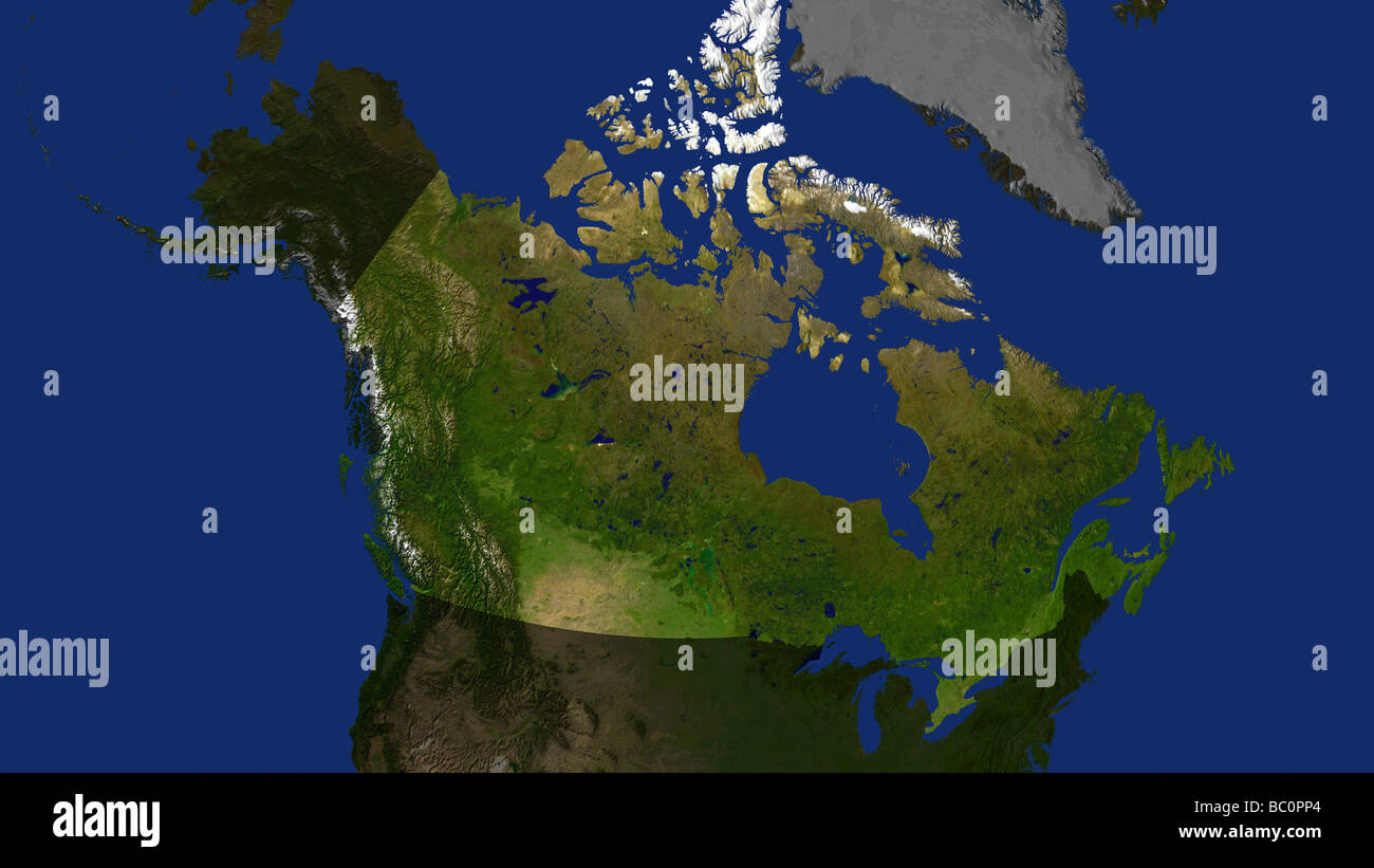 Map Of Canada And Surrounding Countries.Satellite Image Of Canada With Surrounding Countries Darkened Stock