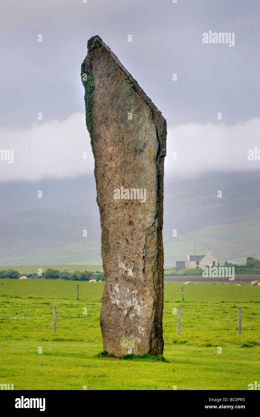 Standing Stones of Steness a Neolithic stone circle dating from 3100BC Orkney Islands Scotland - Stock Image