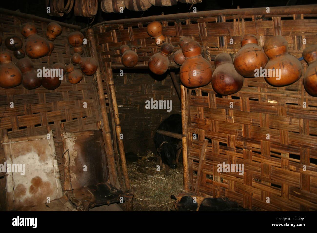 Africa Ethiopia Omo region Chencha Dorze billage interior of a traditional elephant shaped hut - Stock Image