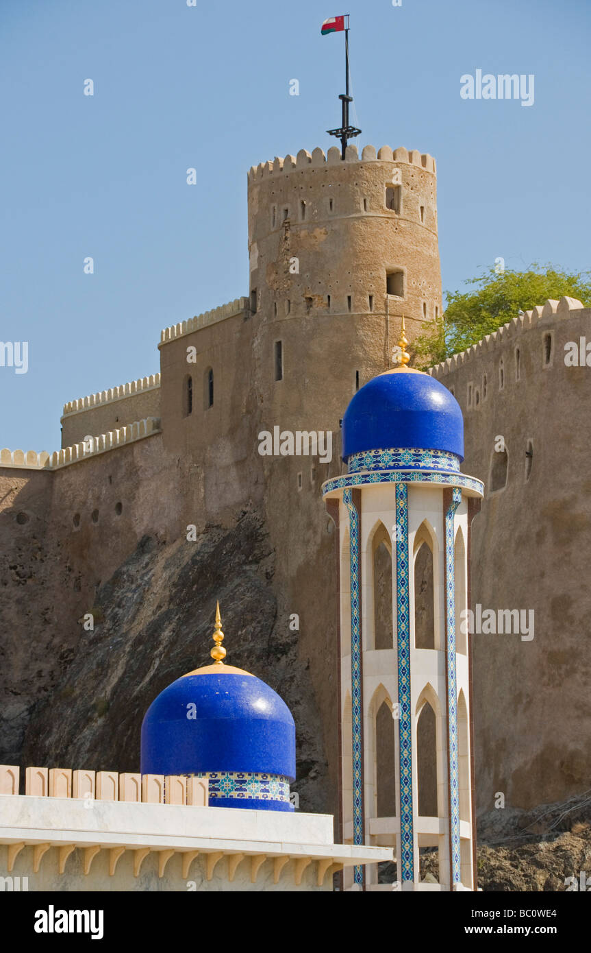 Old Muscat view of Al Khawr mosque & Al Mirani Fort - Stock Image