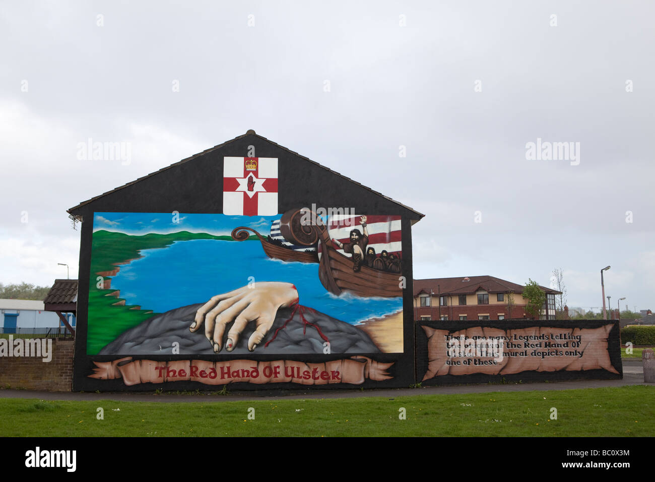 The Red Hand of Ulster in the Shankill quarter, West Belfast, Northern Ireland, United Kingdom - Stock Image