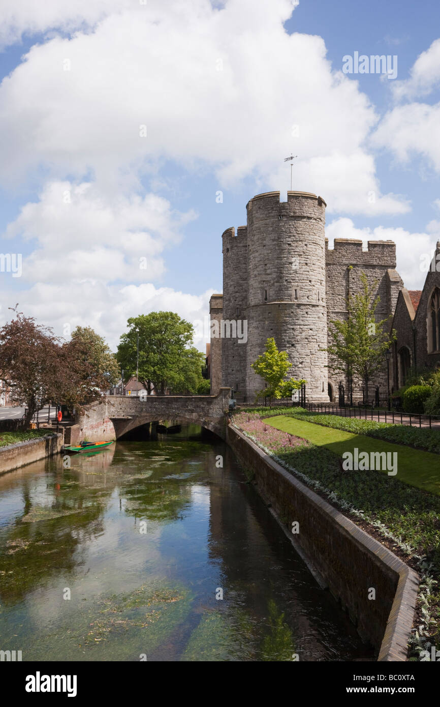 View along the River Stour to Westgate towers from West Gate gardens in Canterbury Kent England UK - Stock Image