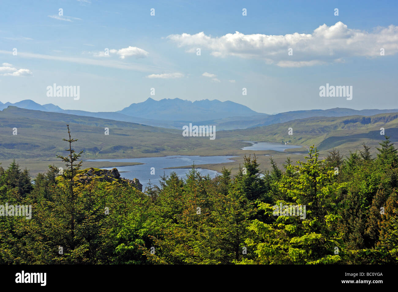 The Cuillin and Storr Lochs from the Storr. Trotternish, Isle of Skye, Inner Hebrides, Scotland, United Kingdom, - Stock Image