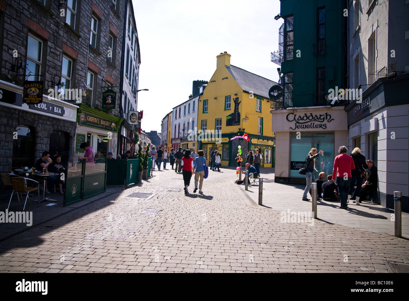 Shopping street in Galway city center Ireland - Stock Image