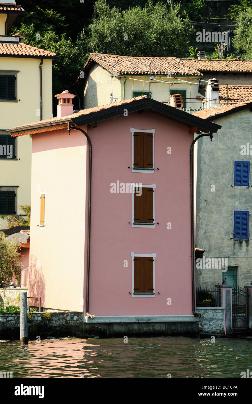 Pink waterfront villa Sensole on the island of Monte Isola Lake Iseo Lombardy Italy - Stock Image