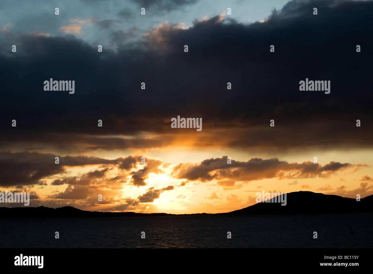 Sunset over Sound of Taransay , Isle of Harris, Outer Hebrides, Scotland - Stock Image
