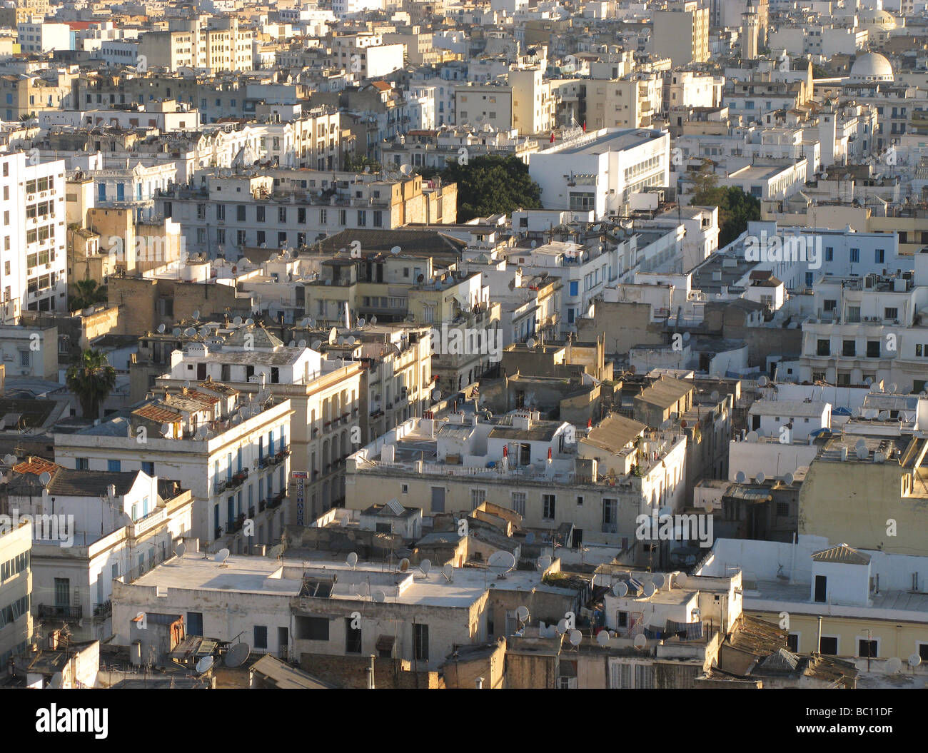 TUNIS, TUNISIA. An evening view over the city centre. 2009. - Stock Image