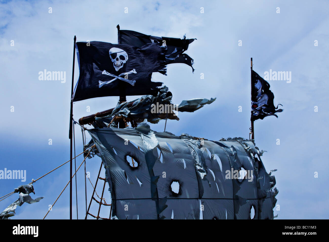 pirate flags above tattered sails - Stock Image