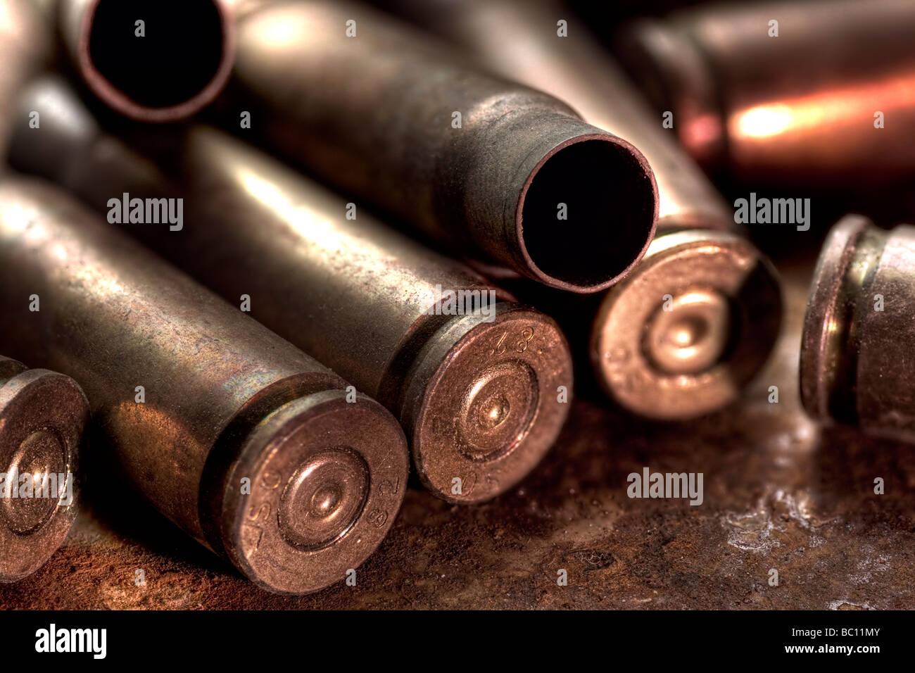 Empty AK-47 casings - Stock Image