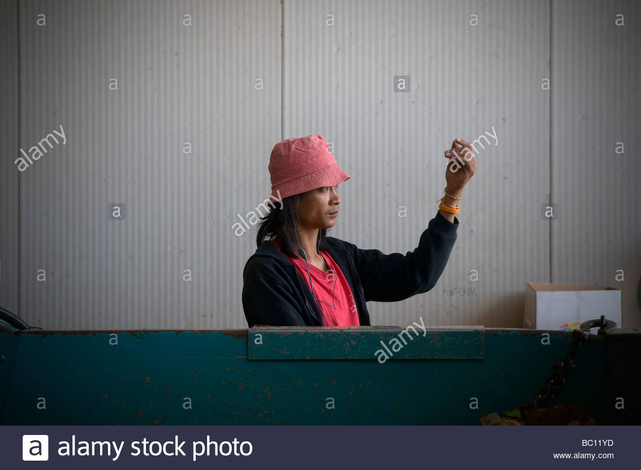Thai migrant worker at work in Israel Stock Photo
