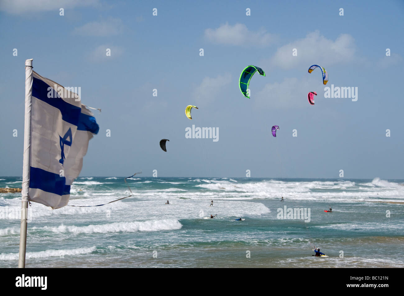 Kite surfing in Tel Aviv Beach Israel - Stock Image