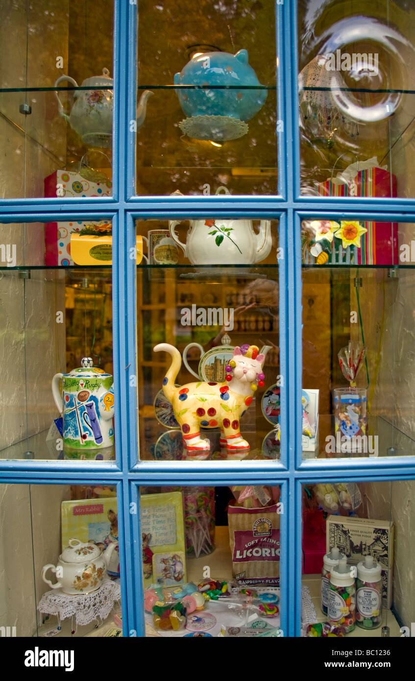 Teapots fill a gift shop window in Grasmere, a small village in England's famous Lake District, Cumbria.  Editorial - Stock Image