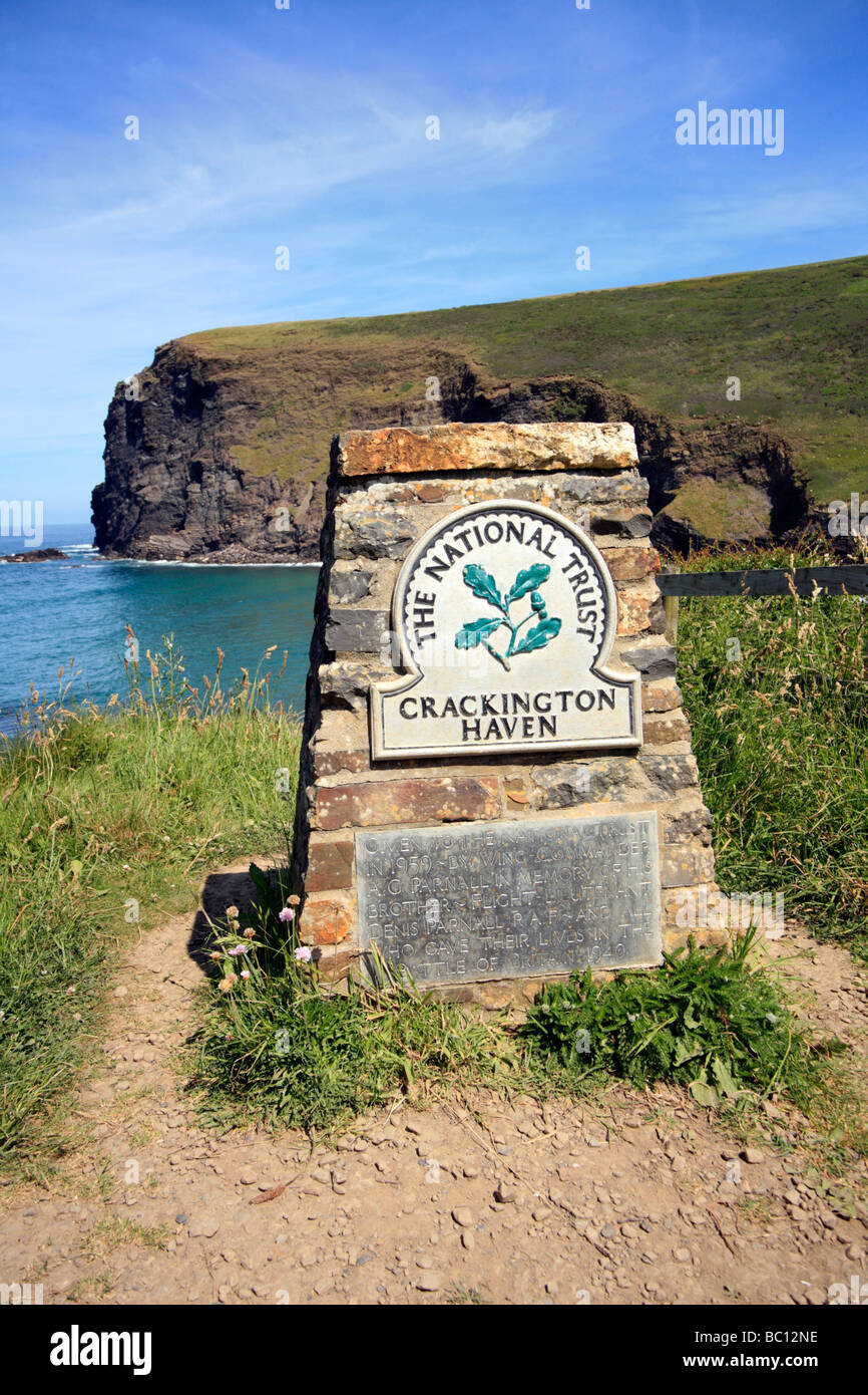 National Trust Dedication Plaque Crackington Haven Cornwall - Stock Image