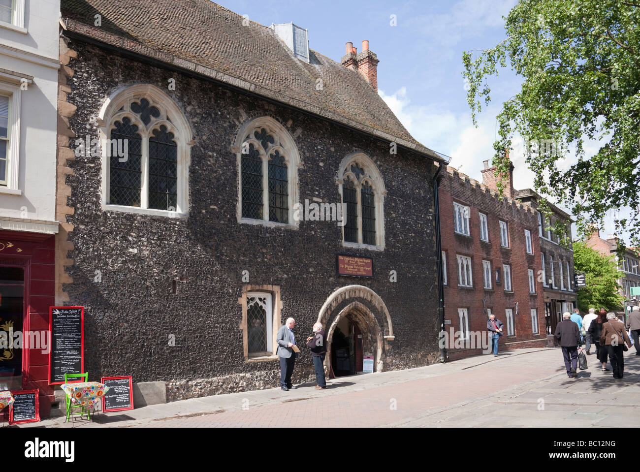 Canterbury Kent England UK Europe 12th century Pilgrim s Hospital of St Thomas built in 1176 in the city centre - Stock Image