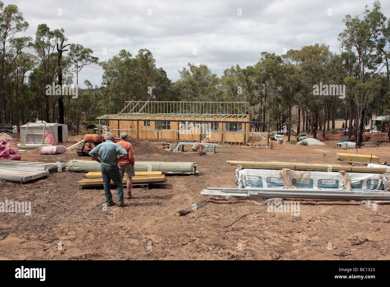 Wood frame house under construction in Bridgetown Western Australia - Stock Image