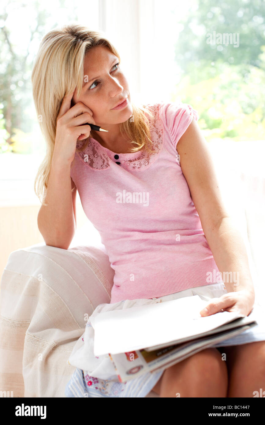 Woman writing letter Stock Photo