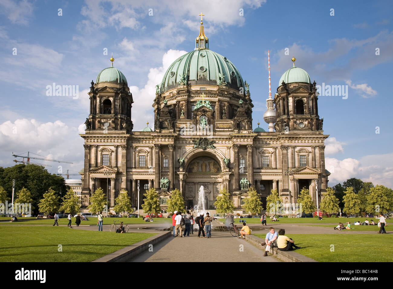 Berlin Cathedral and Lustgarten in foreground, Berlin, Germany - Berliner Dom - Stock Image