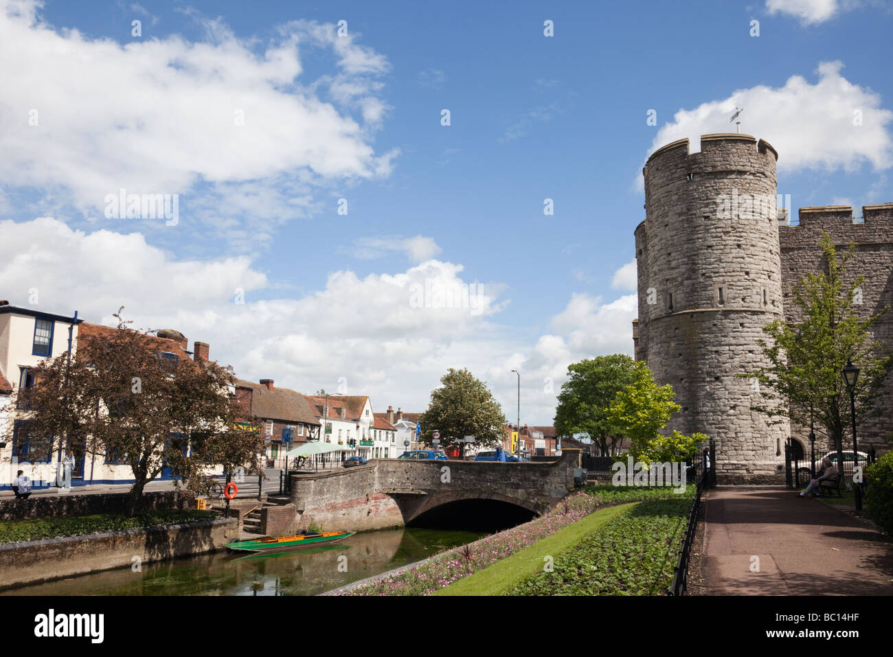 Canterbury Kent England UK Europe River Stour and Westgate towers from West Gate gardens - Stock Image