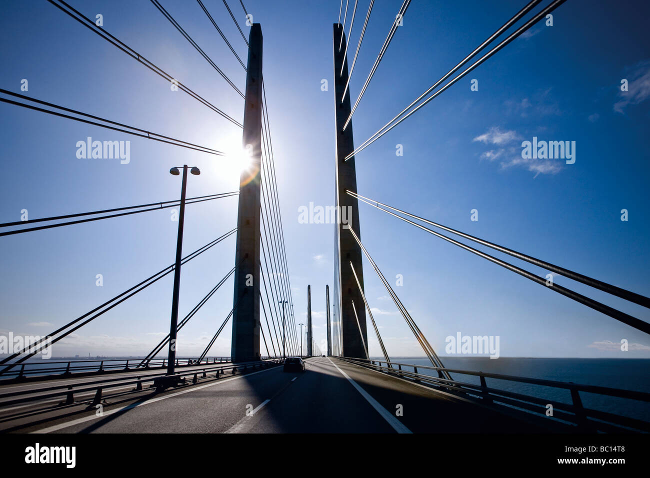 The pylons on the Oresund Bridge between Denmark and Sweden - Stock Image