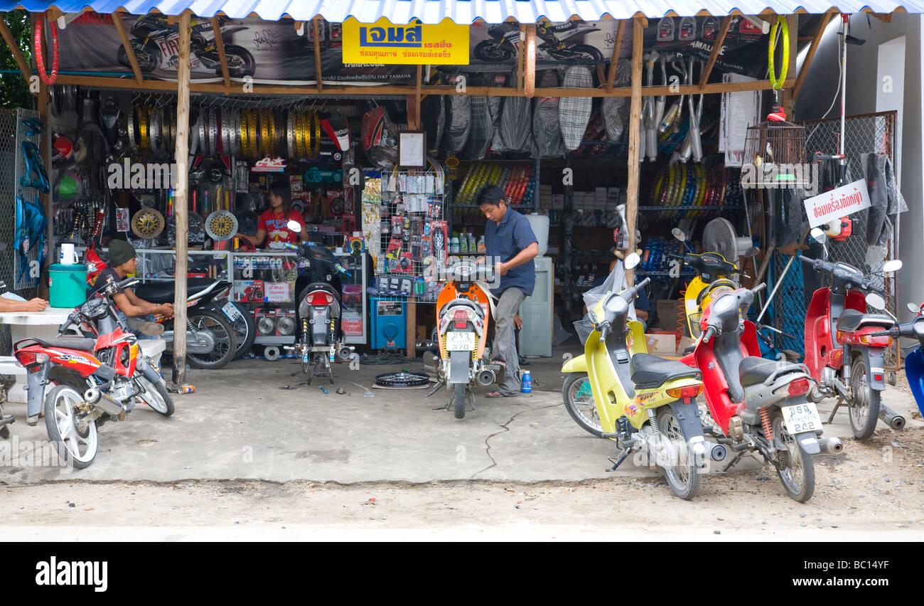 Thai Motorcycle Repair Shop Stock Photo