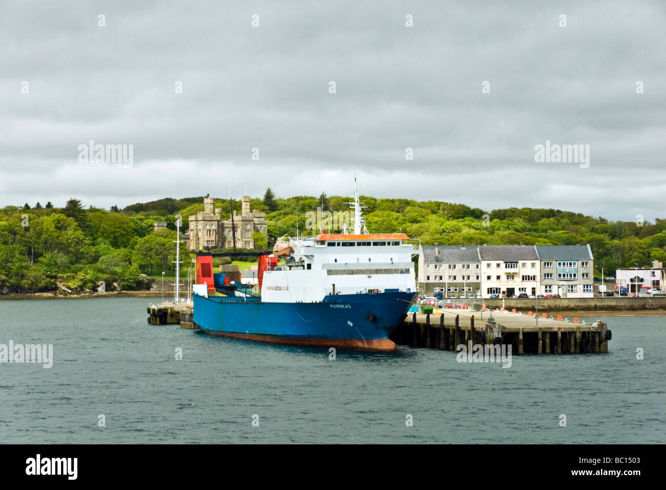 Stornoway Harbour Stornoway on the Isle of Lewis Outer Hebrides Scotland with berthed Calmac RoRo ferry Muirneag - Stock Image
