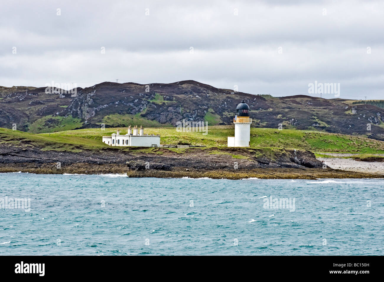 Lighthouse at the entrance to Stornoway on the Isle of Lewis Outer Hebrides Scotland - Stock Image