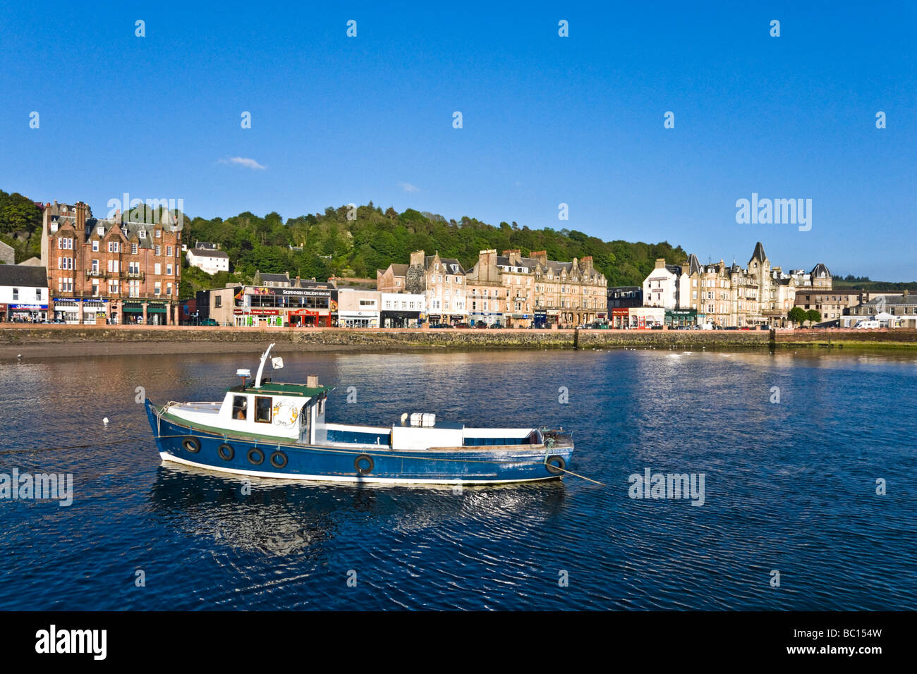 George Street in Oban Argyll Scotland on a sunny May day - Stock Image