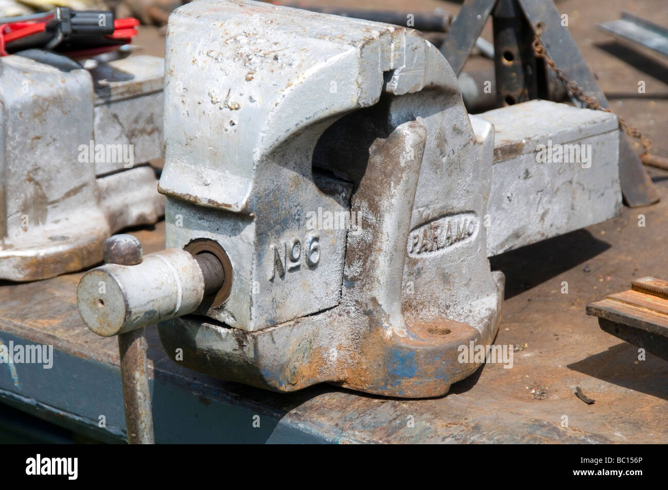 vice vices engineer engineering engineers bench work skill skills skilled manual labour clamp metal metalwork work Stock Photo