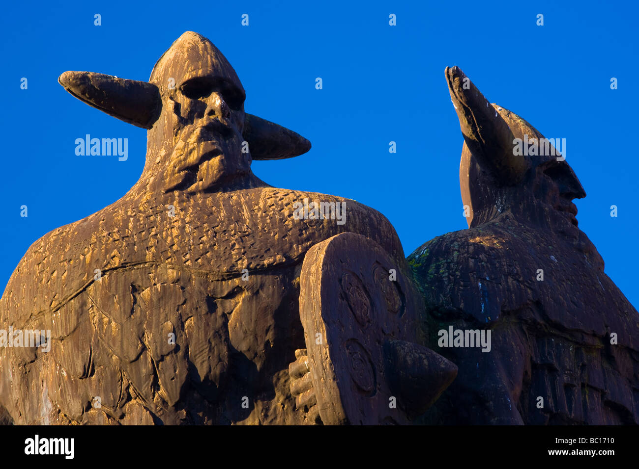 England, Tyne Wear, Jarrow, Viking statue. Raids wereexperienced on mainland britain when it was invaded in AD79 - Stock Image