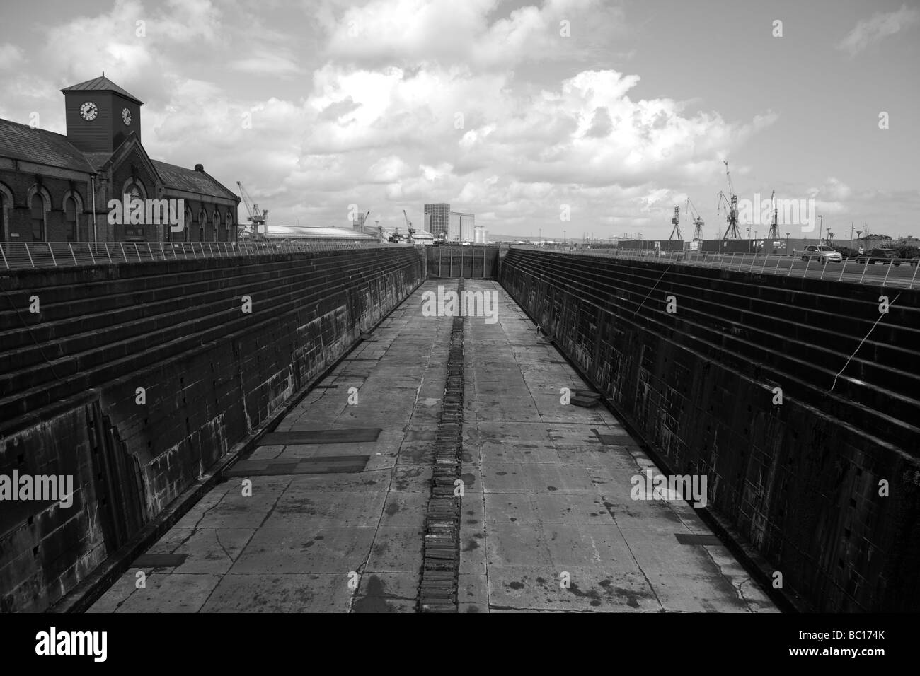 Dock Thompson in the Harland and Wolff Shipyard, Queen's Island, Belfast, Northern Ireland, United Kingdom - Stock Image