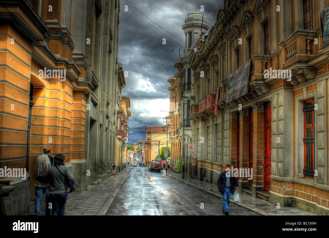 HDR Image of a rainy inner city, downtown scene in the city centre of La Paz, Bolivia - Stock Image