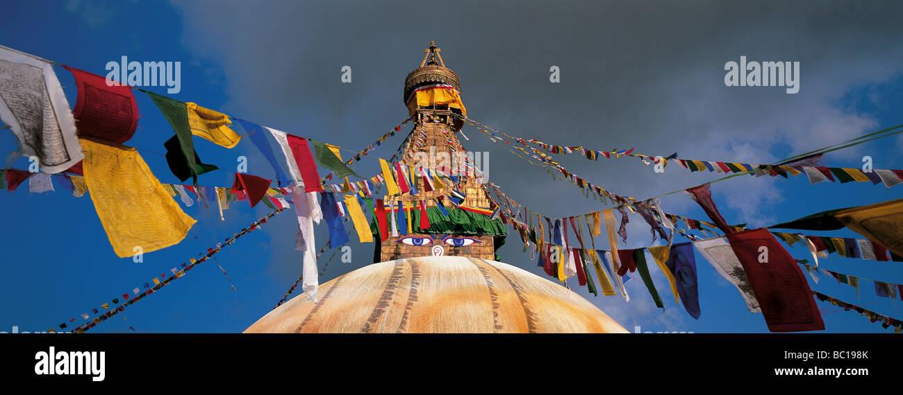Nepal, Bagmati Zone, Kathmandu Valley listed as World heritage by UNESCO, stupa of Bodnath - Stock Image