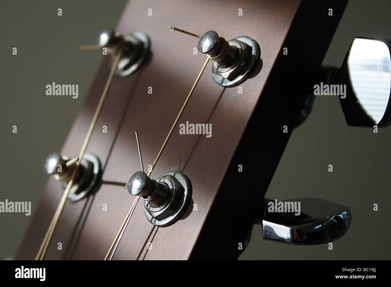 Six String Acoustic Guitar Machine Heads Closeup Horizontal Stock