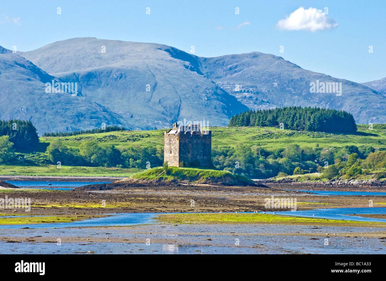 Castle Stalker near Portnacroish in Loch Linnhe Lorn Scotland - Stock Image