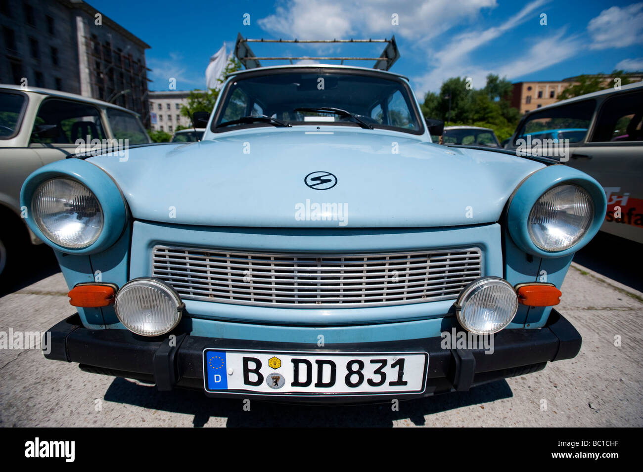 Old East German Trabant cars parked in Berlin Germany - Stock Image