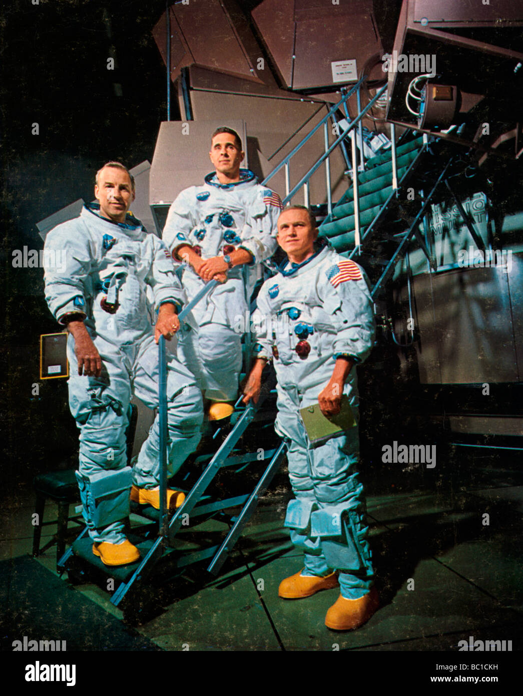 The crew of Apollo 8 in front of a simulator, 1968.Artist: NASA - Stock Image