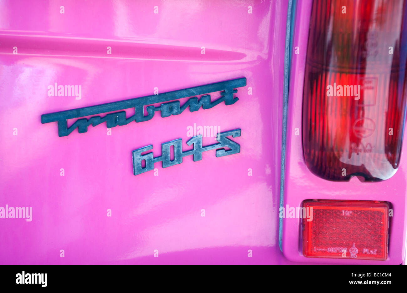 Detail of pink Trabant car built in the former East Germany Stock Photo