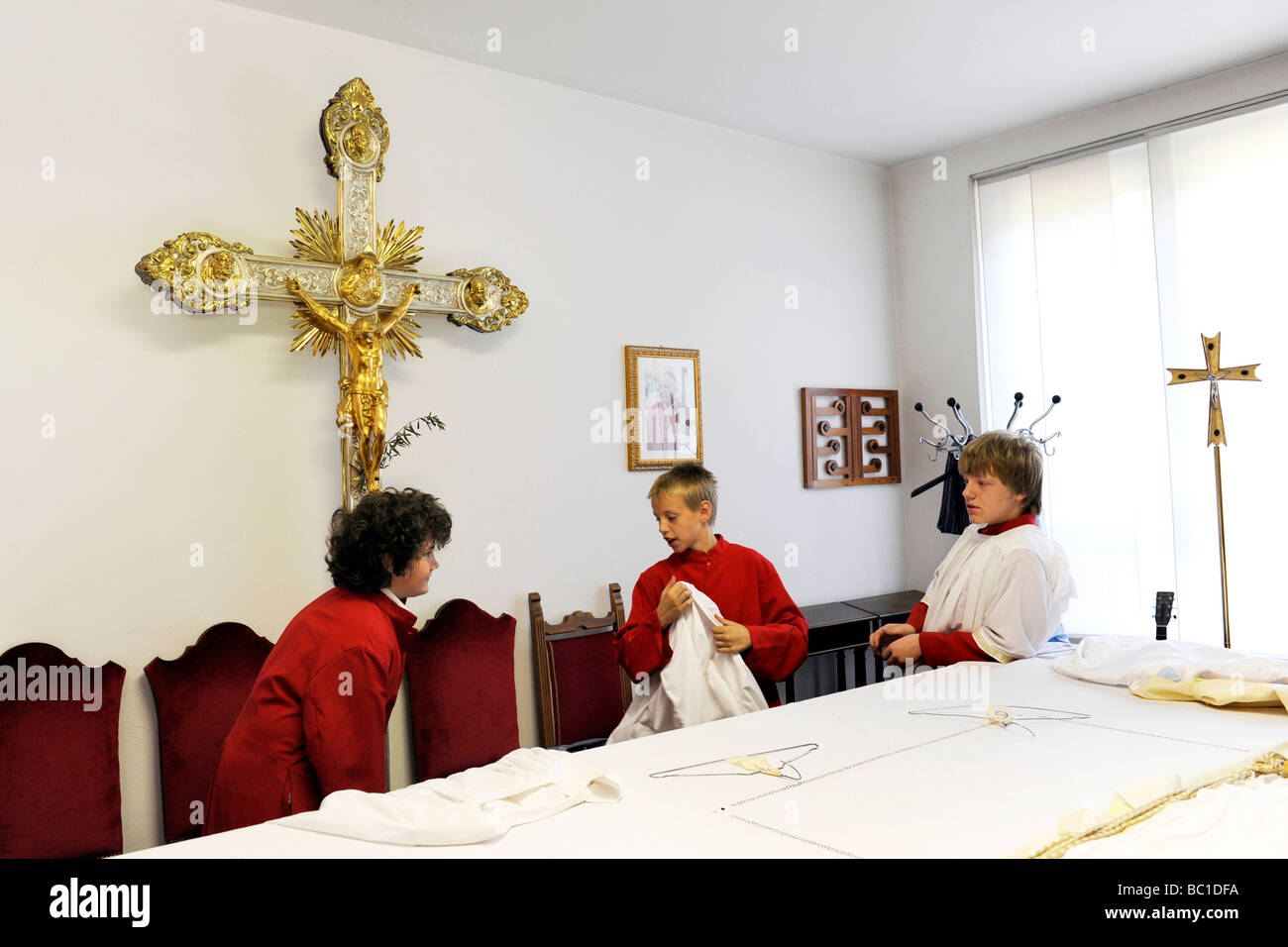 boys in the sacristy legnano province of milan - Stock Image