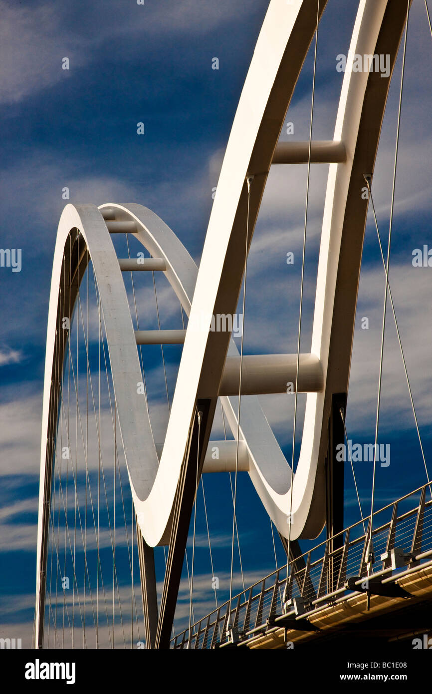 The Infinity Bridge Stockton on Tees opened May 2009 North East England - Stock Image