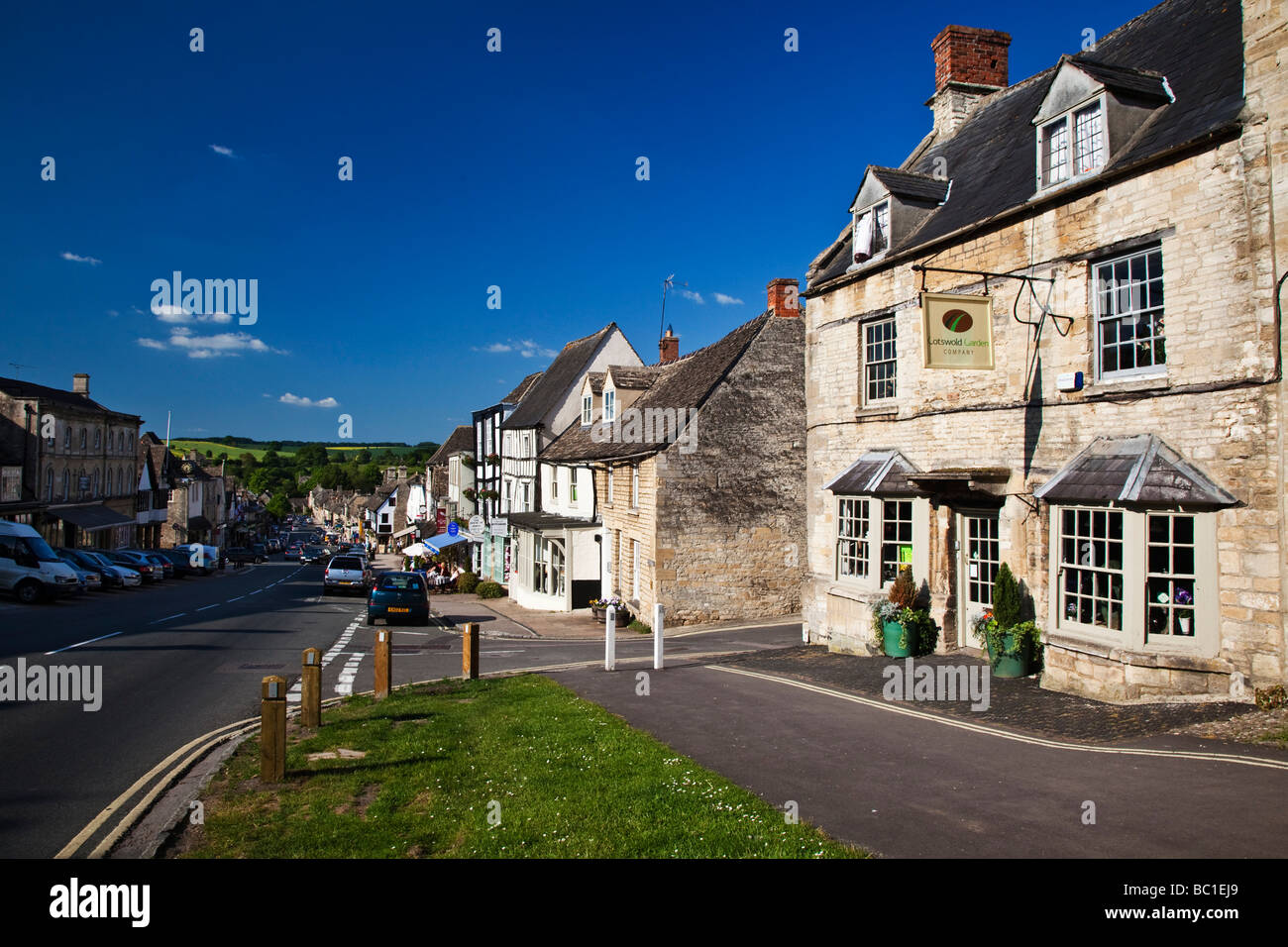 High Street Burford Oxfordshire in the Cotswolds - Stock Image