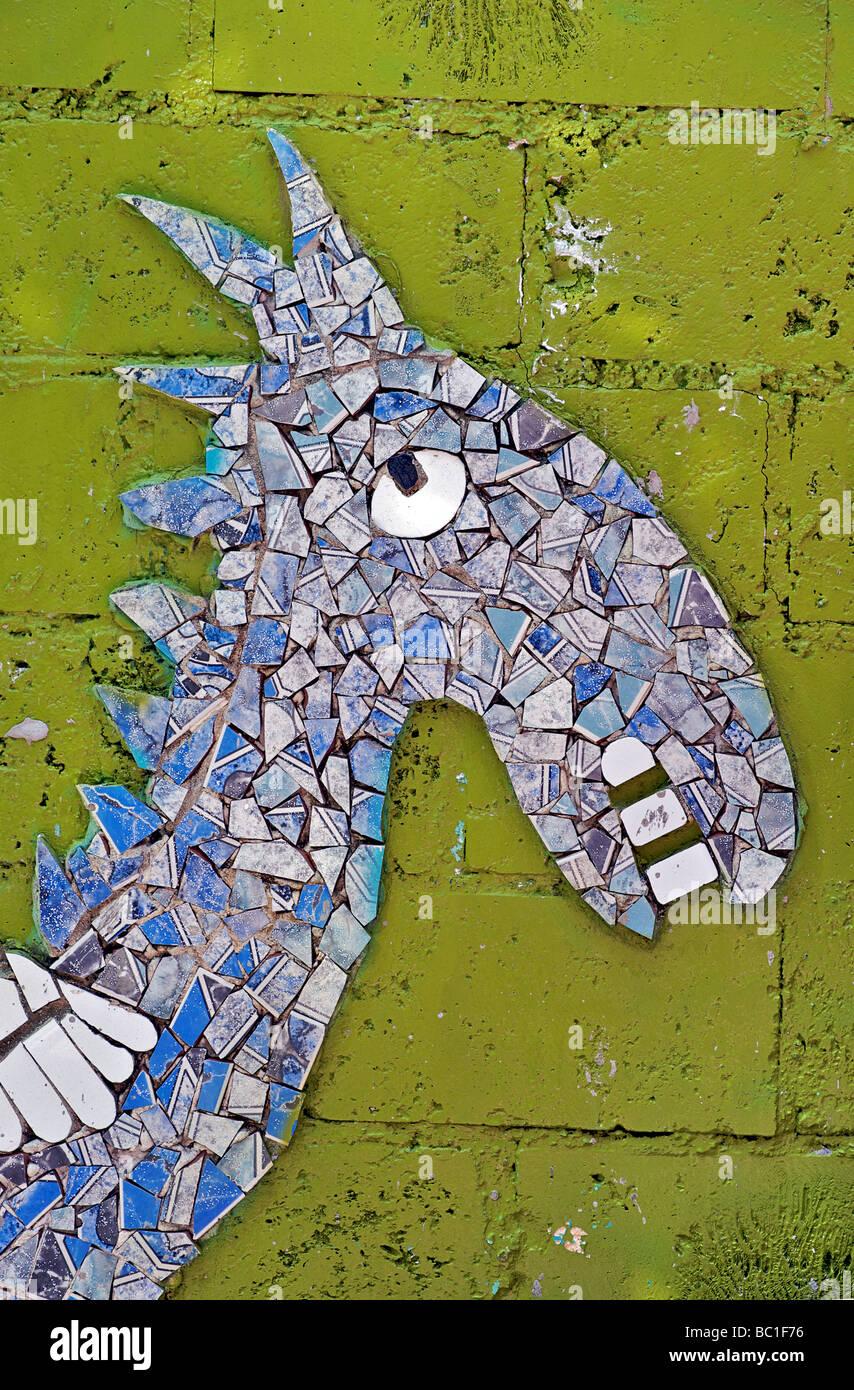 Mosaic sculptures at Jose Fuster's Gaudi inspired park, Jaimanitas, Havana, Cuba. Horse - Stock Image