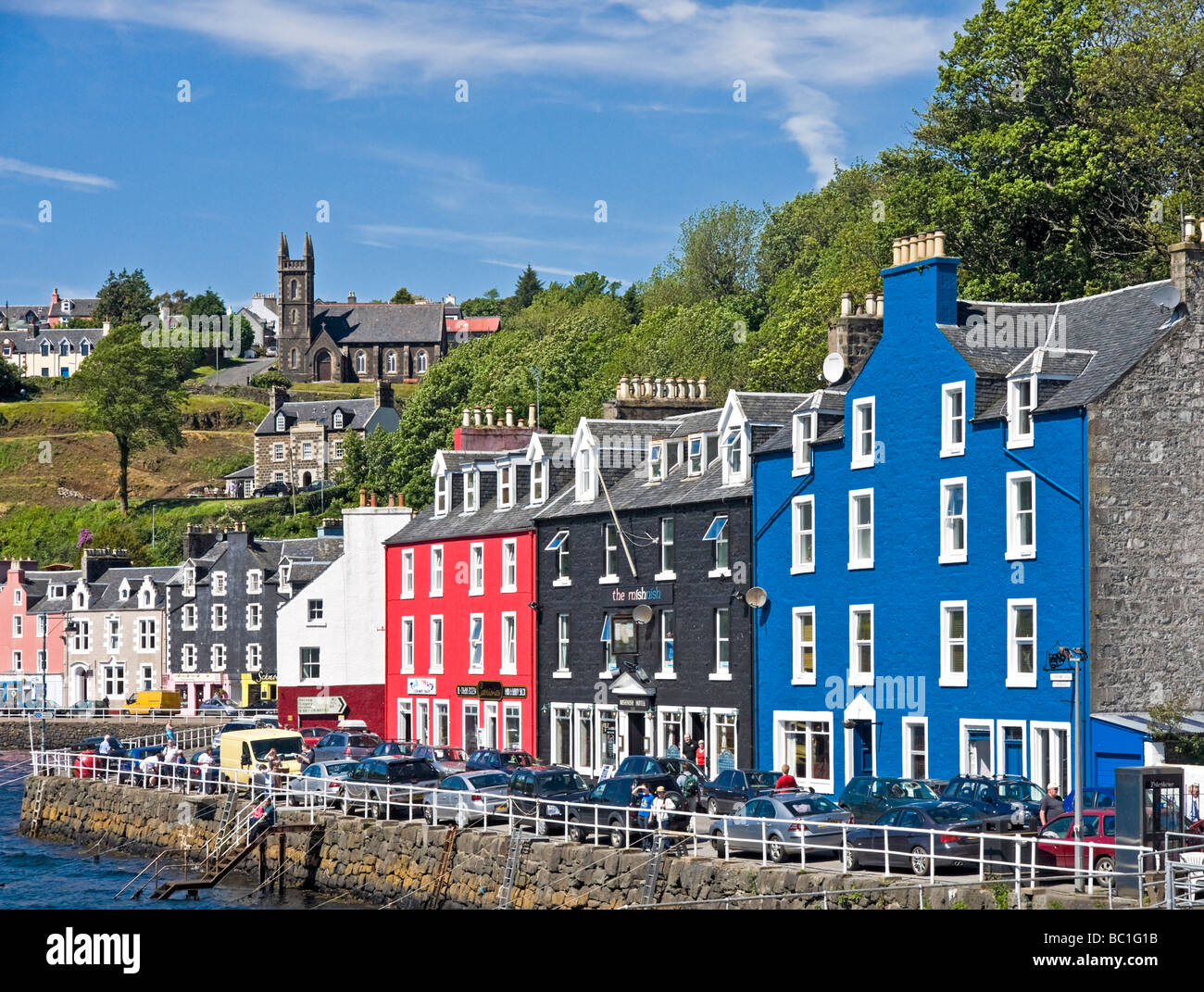 Harbour view of Tobermory on Mull in Scotland with colourful houses - Stock Image